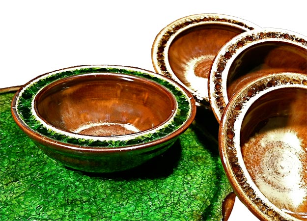 glass fused pottery bowls